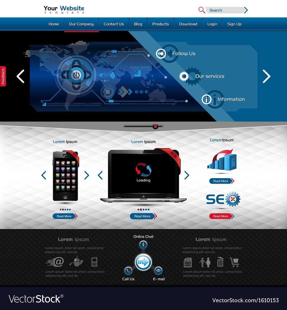 Website template for product presentation