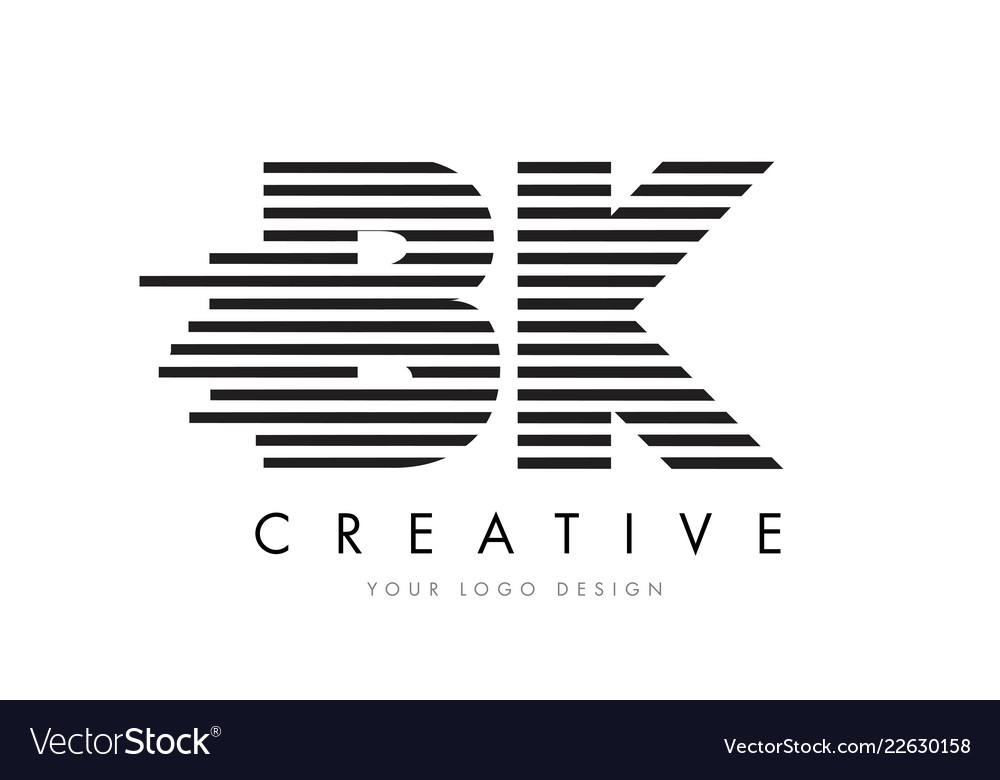 Bk B K Zebra Letter Logo Design With Black And