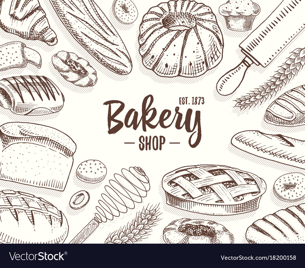 Bread and pastry donut long loaf and fruit pie vector image