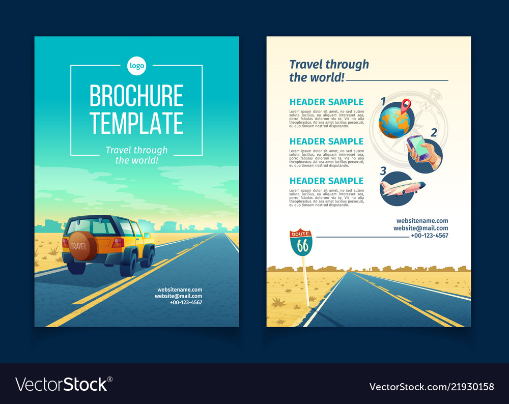 Brochure Template With Tourist Concept Vector Image