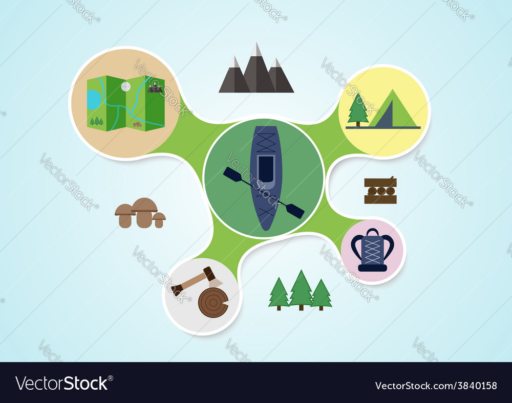 Camping and kayak graphic in round style outdoor