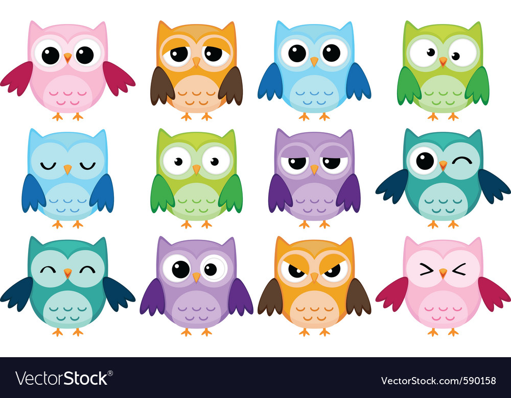 Cartoon owls vector image