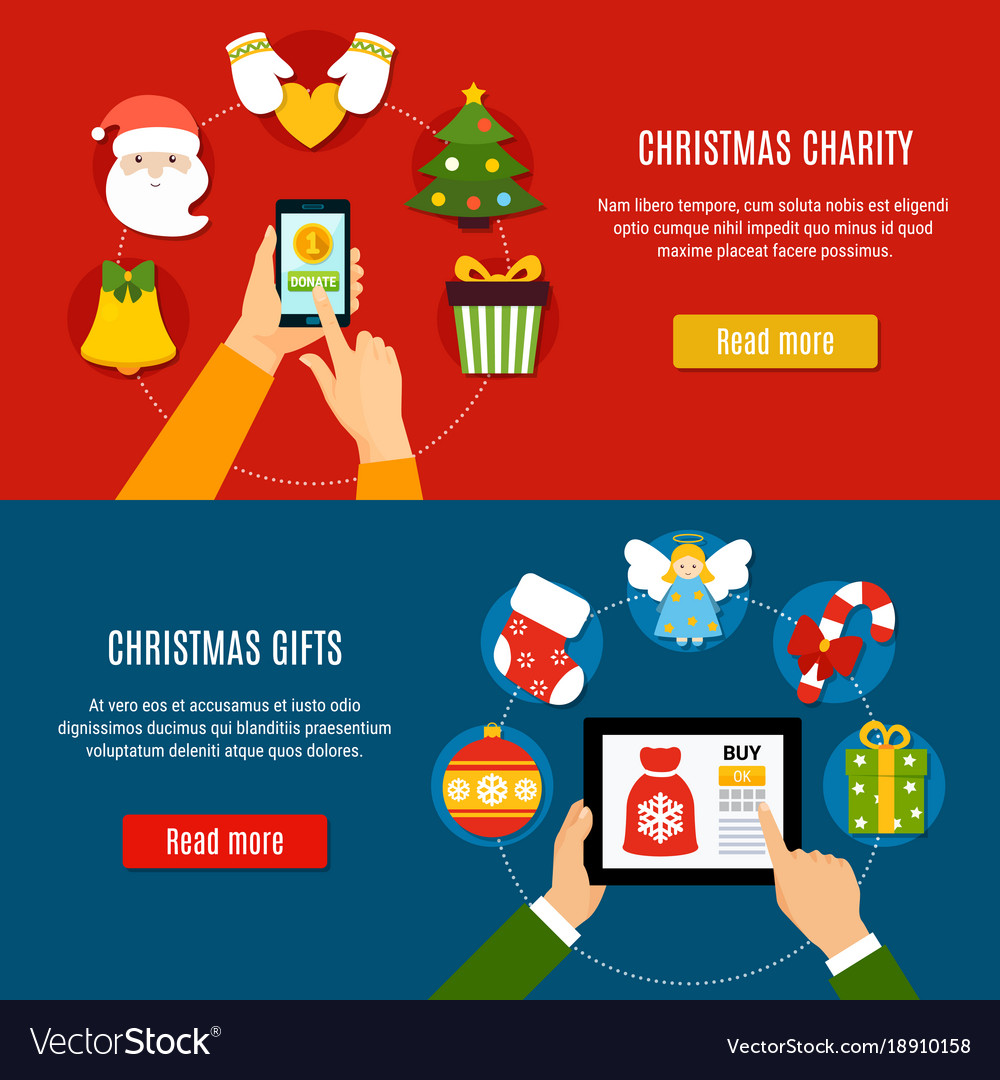 Christmas charity and gifts banners Royalty Free Vector