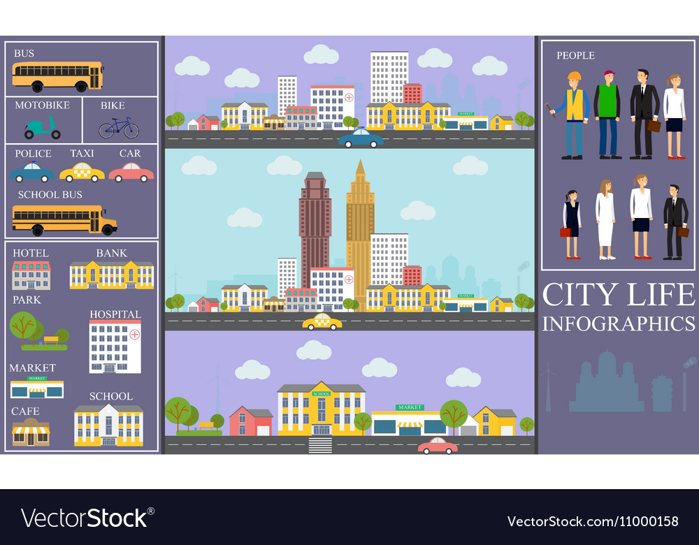 City life Infographic set with charts and other