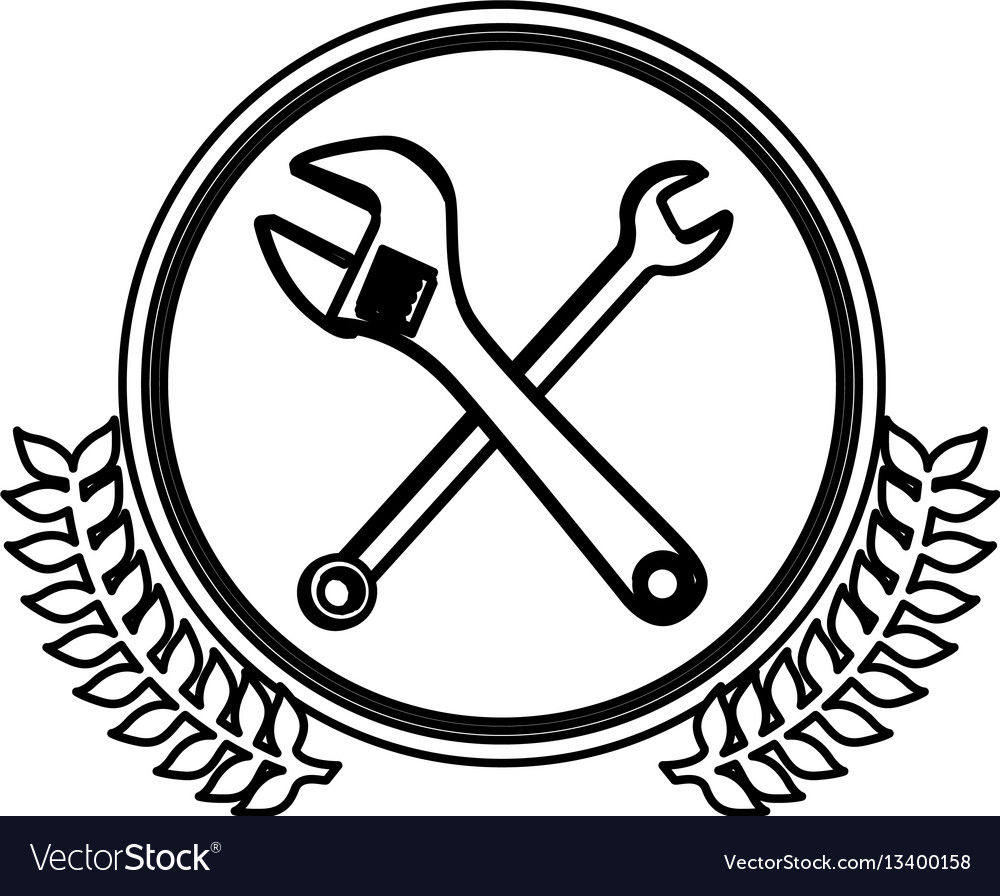 Figure symbol wrench and monkey wrench icon