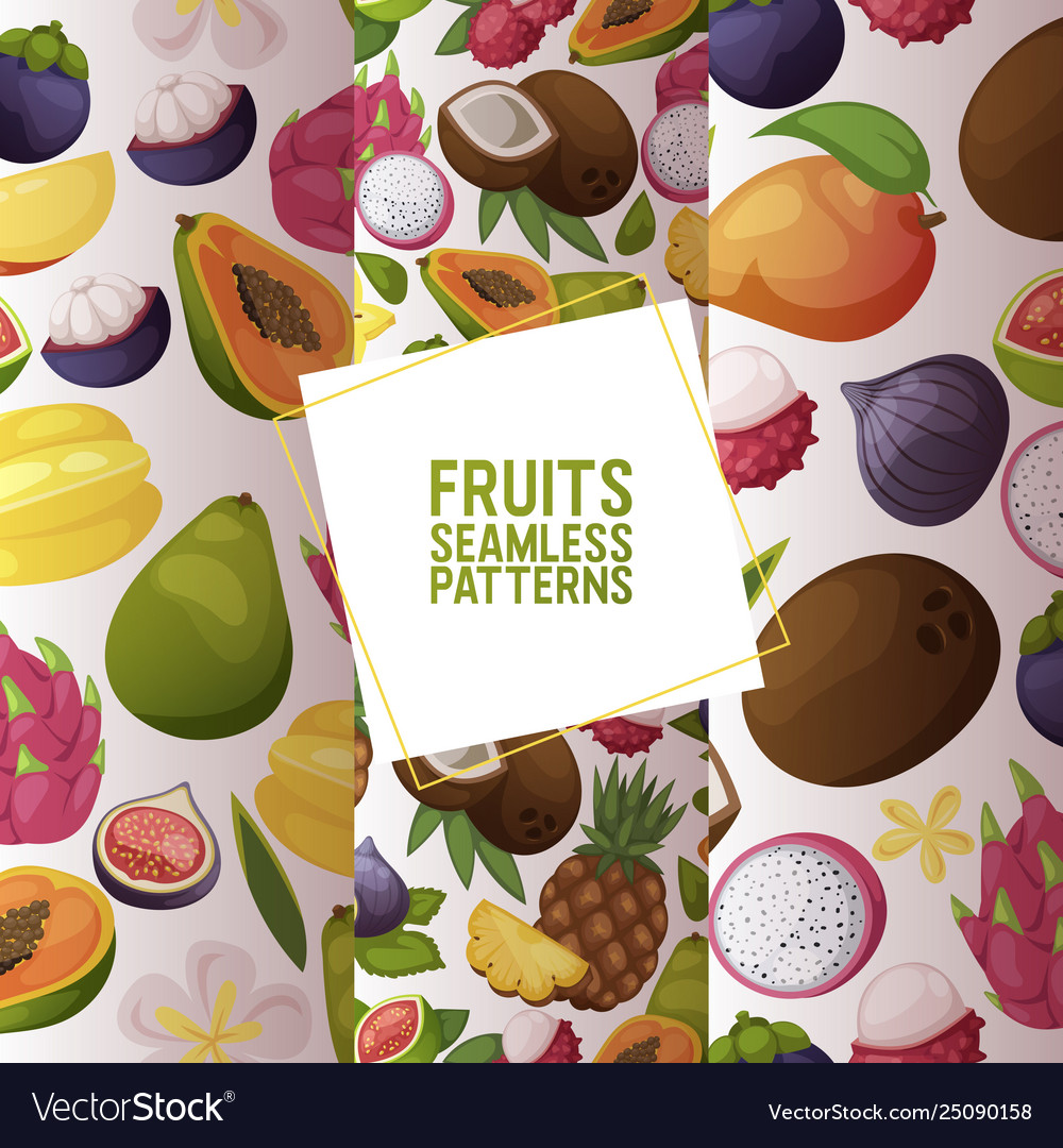 Fruits seamless pattern fruity apple banana