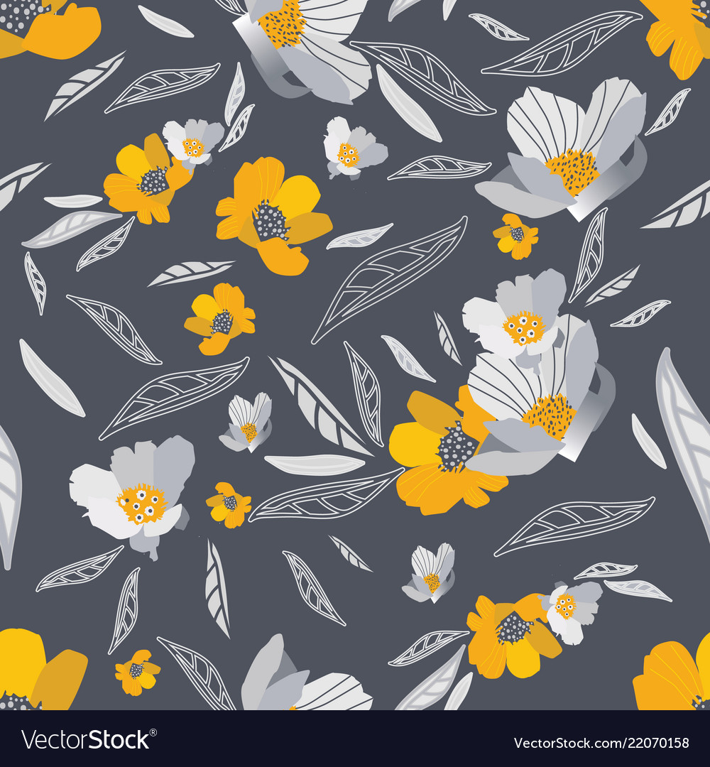 Gold and grey flowers seamless pattern royalty free vector gold and grey flowers seamless pattern vector image mightylinksfo