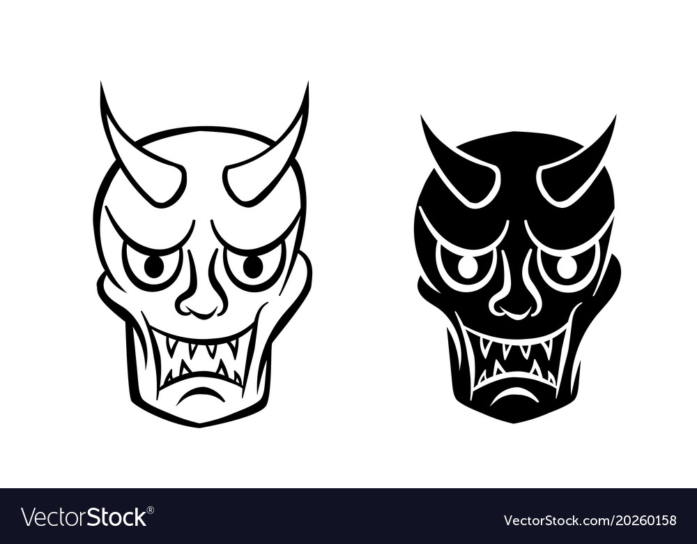 Hanya mask evil ghost face in logo and icon