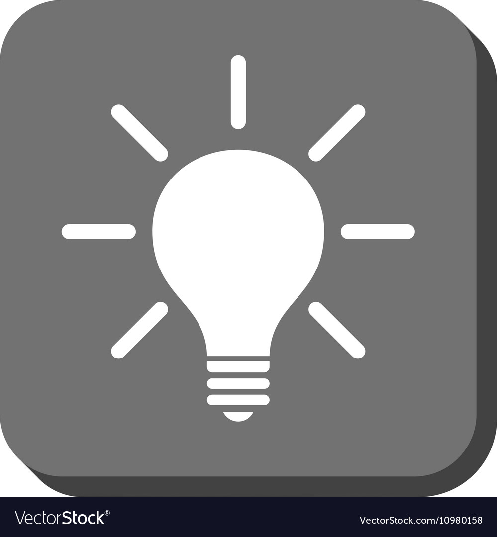 Light Bulb Rounded Square Icon Vector Image