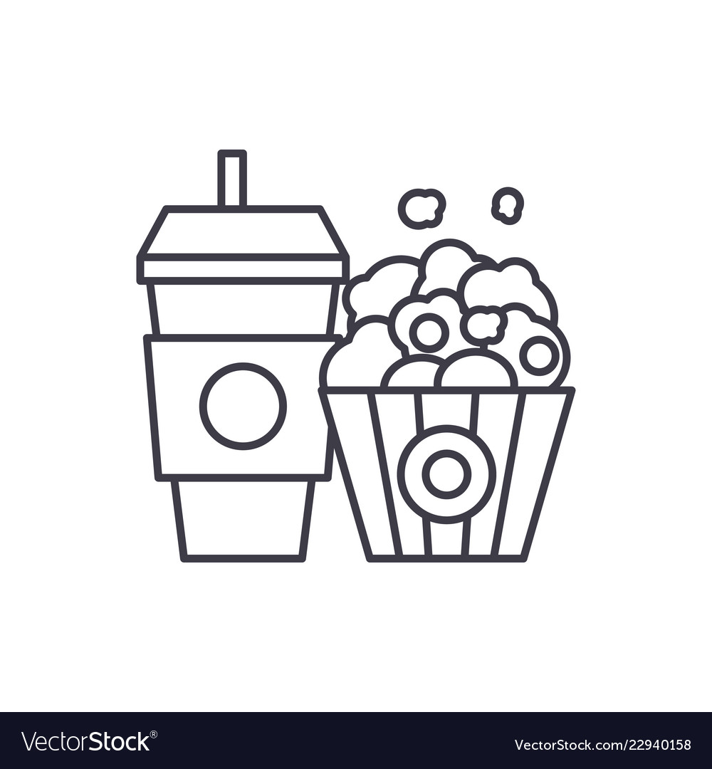 Popcorn and cola line icon concept popcorn and