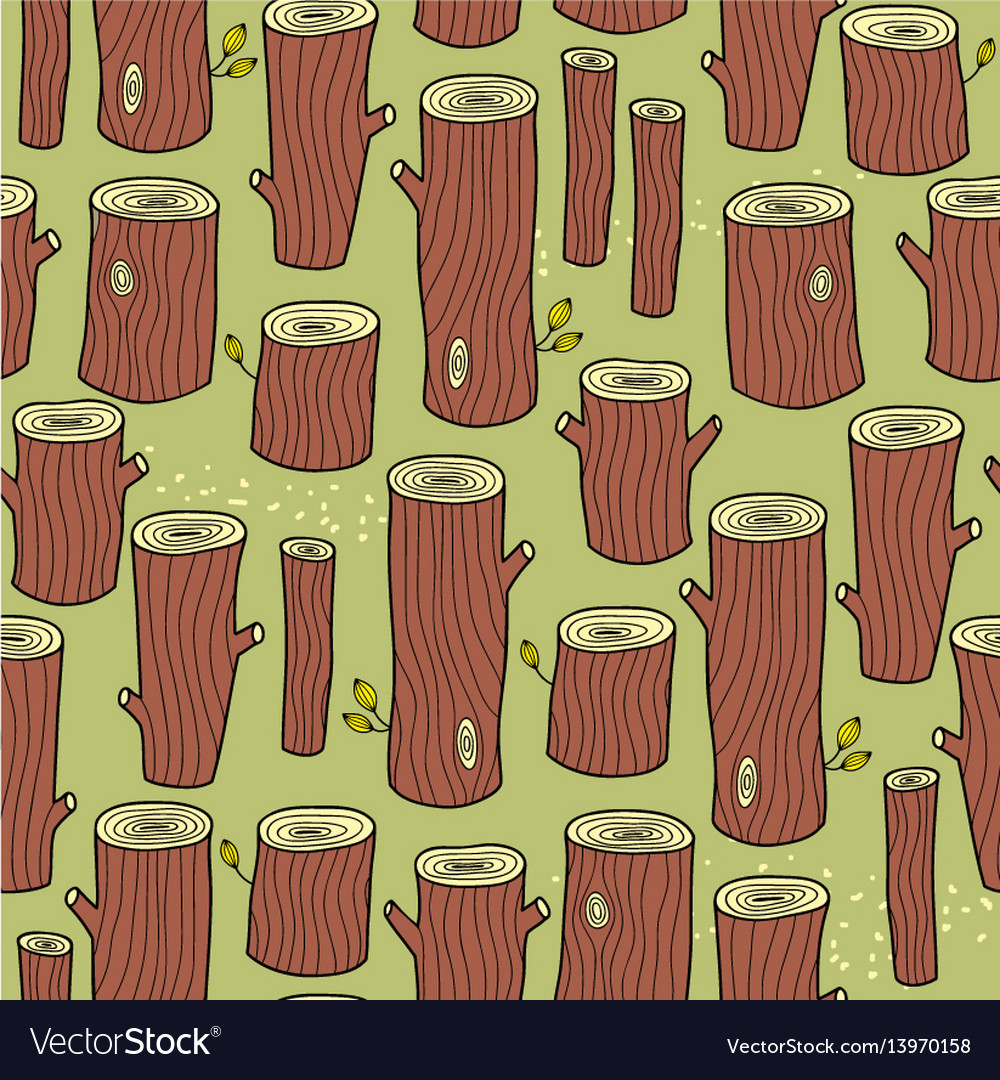Seamless background with summer forest of stubs vector image