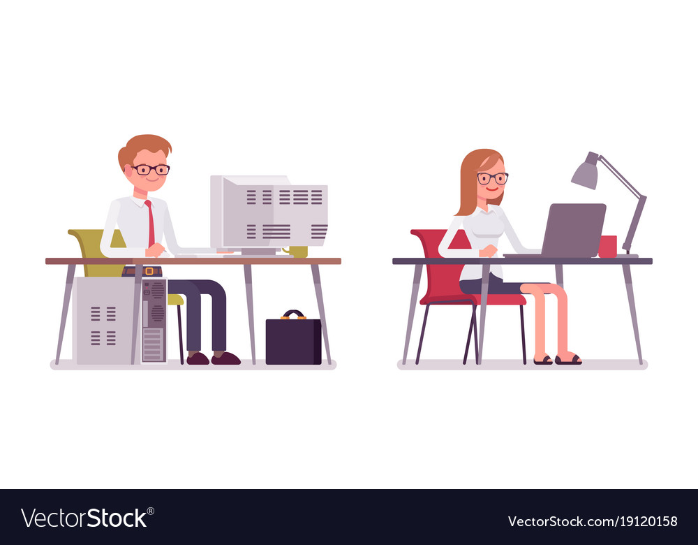 Set of happy male and female clerk sitting at