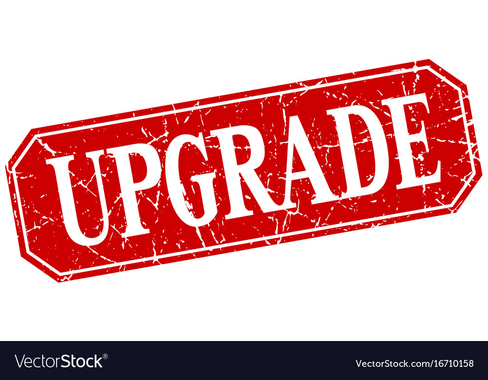 Upgrade red square vintage grunge isolated sign