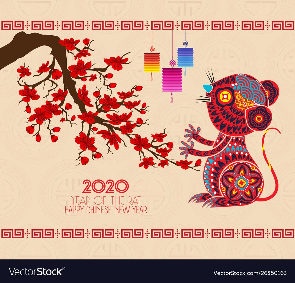 Chinese New Year 2020 Animal.Chinese New Year 2020 Background With Cherry