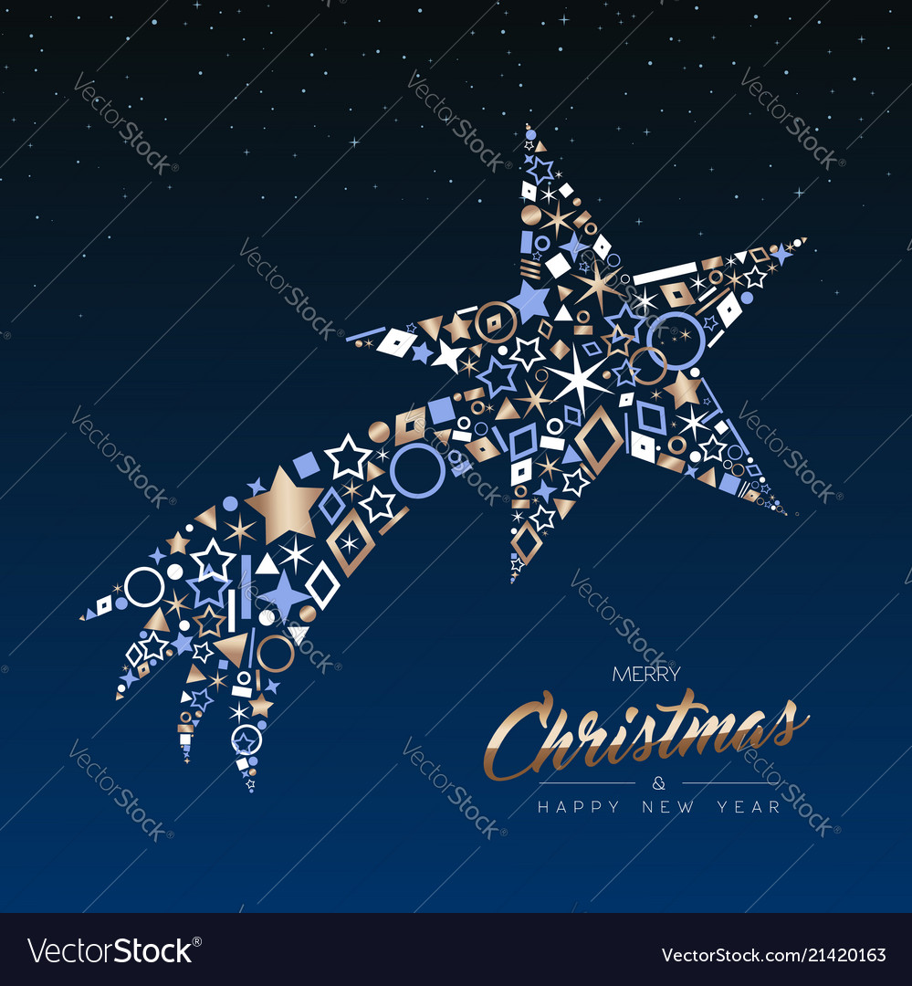 Christmas and new year copper shooting star card Vector Image