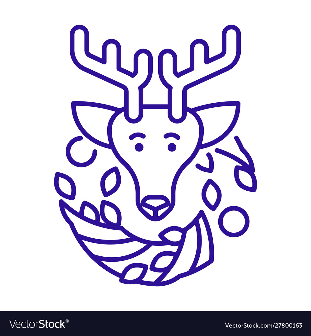 Christmas reindeer and wreath linear icon in blue