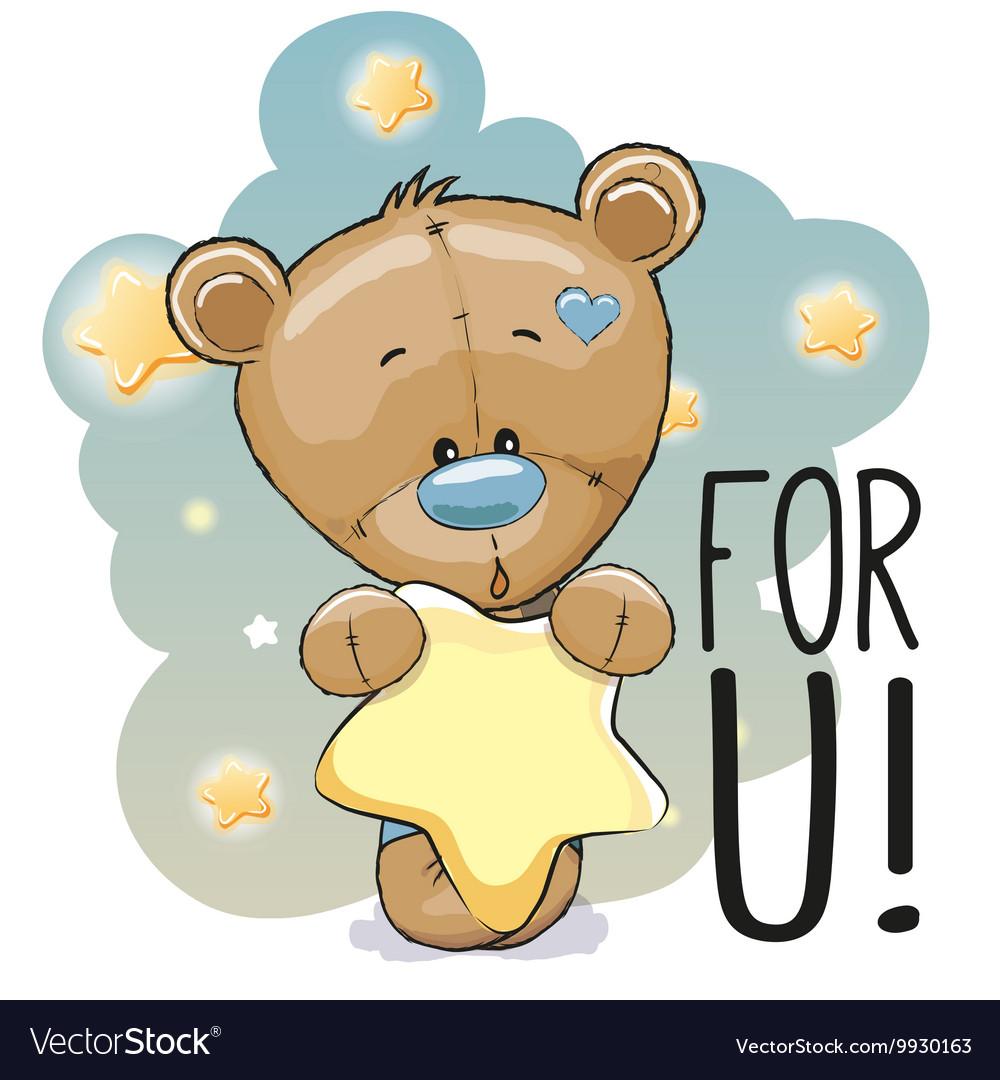 Cute Cartoon Teddy Bear Royalty Free Vector Image