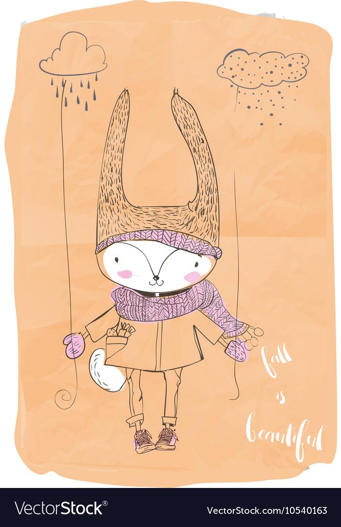 Cute doodle hare