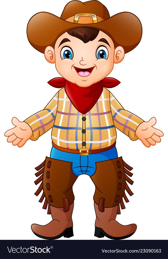 Cute happy boy wearing a cowboy costume