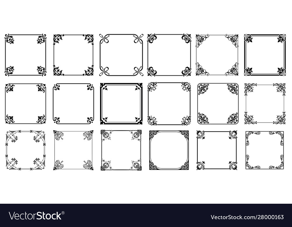 Decorative frames retro ornamental vintage square