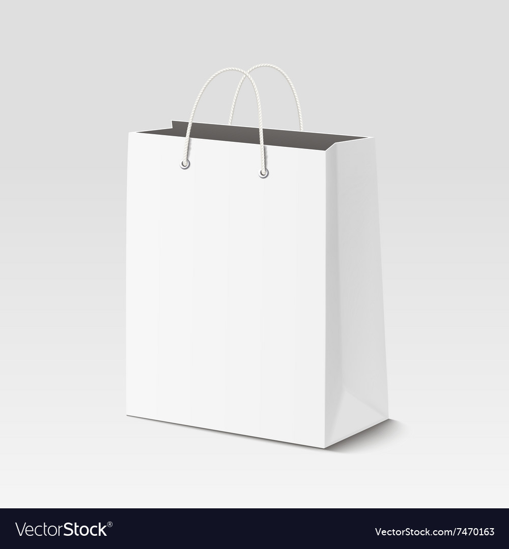 Empty shopping paper bag for advertising vector image