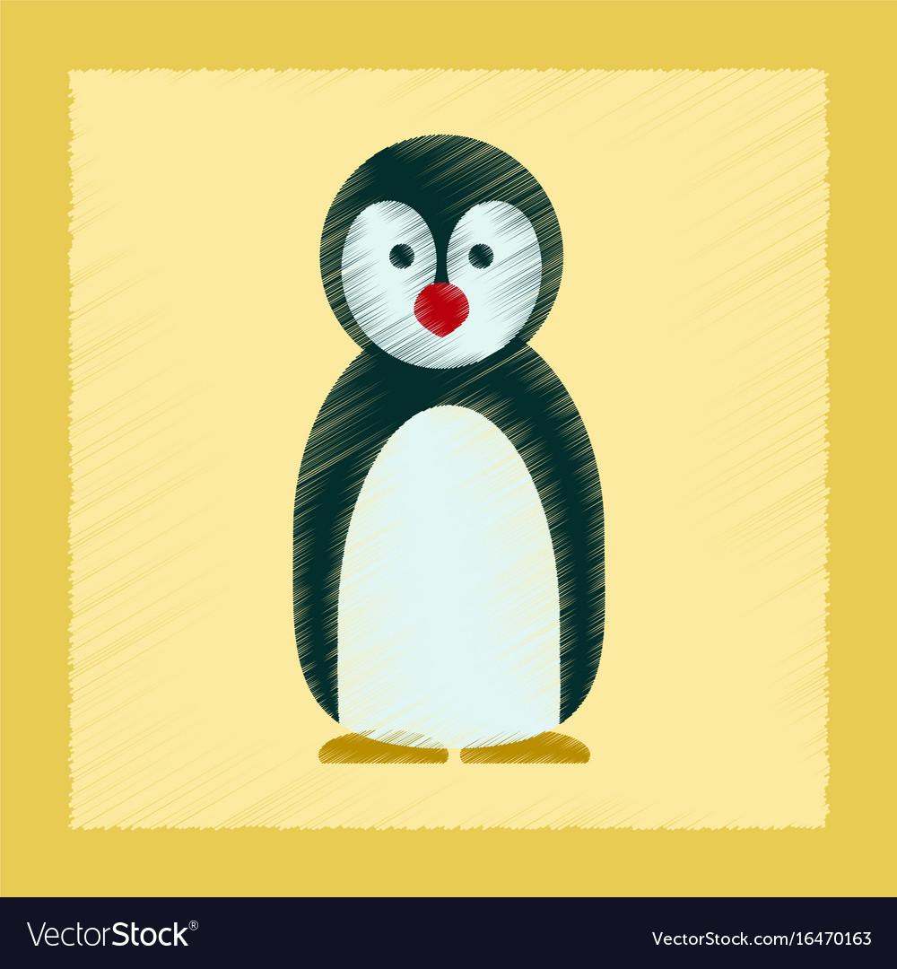 Flat shading style icon penguin