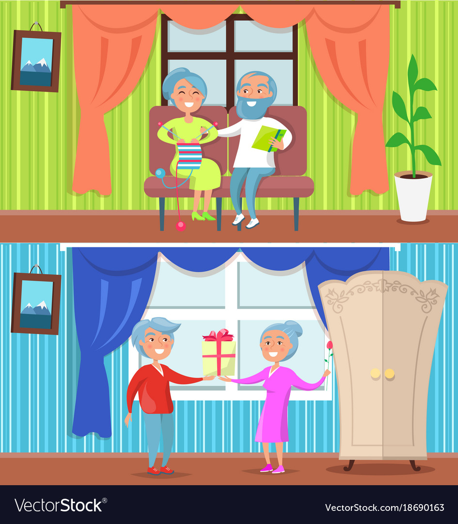 Happy older people at home set of vector image