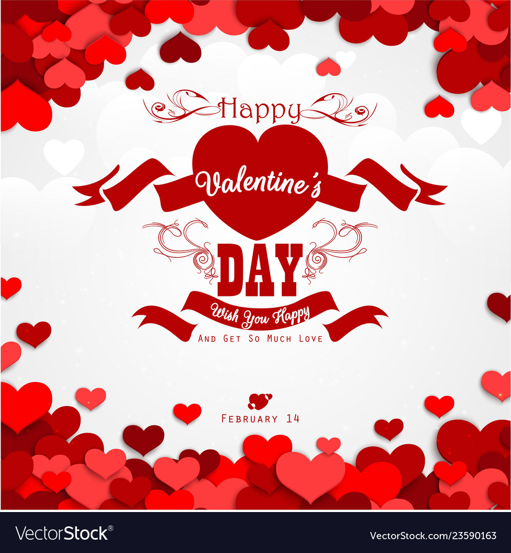 Happy valentines day background with red hearts an