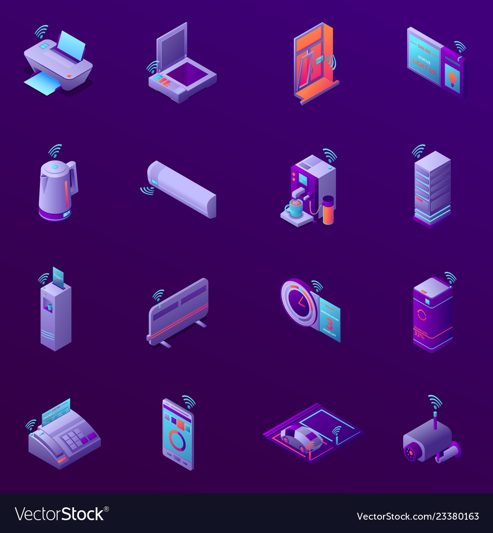 Iot business office isometric icons