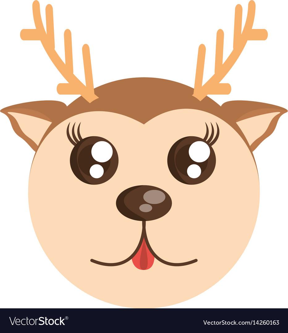 Deer kawaii. Face animal fun