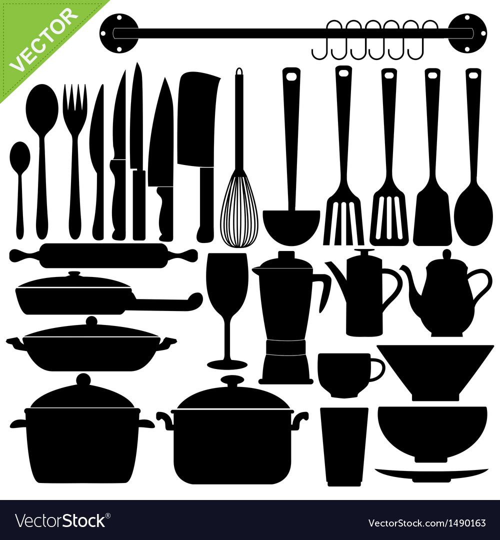 kitchen utensils vector. Kitchen Tools Silhouettes Vector Image Utensils VectorStock
