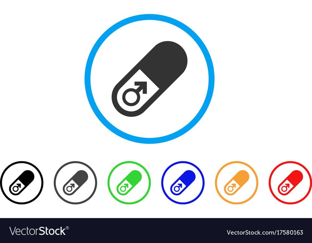 Male power pill rounded icon vector image