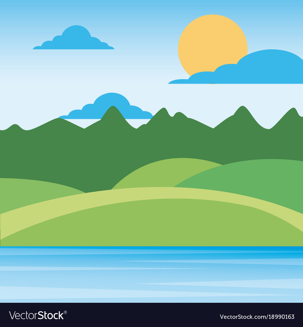 nature landscape mountains with sky sun clouds vector image rh vectorstock com vector skyline rotterdam vector skydive rig