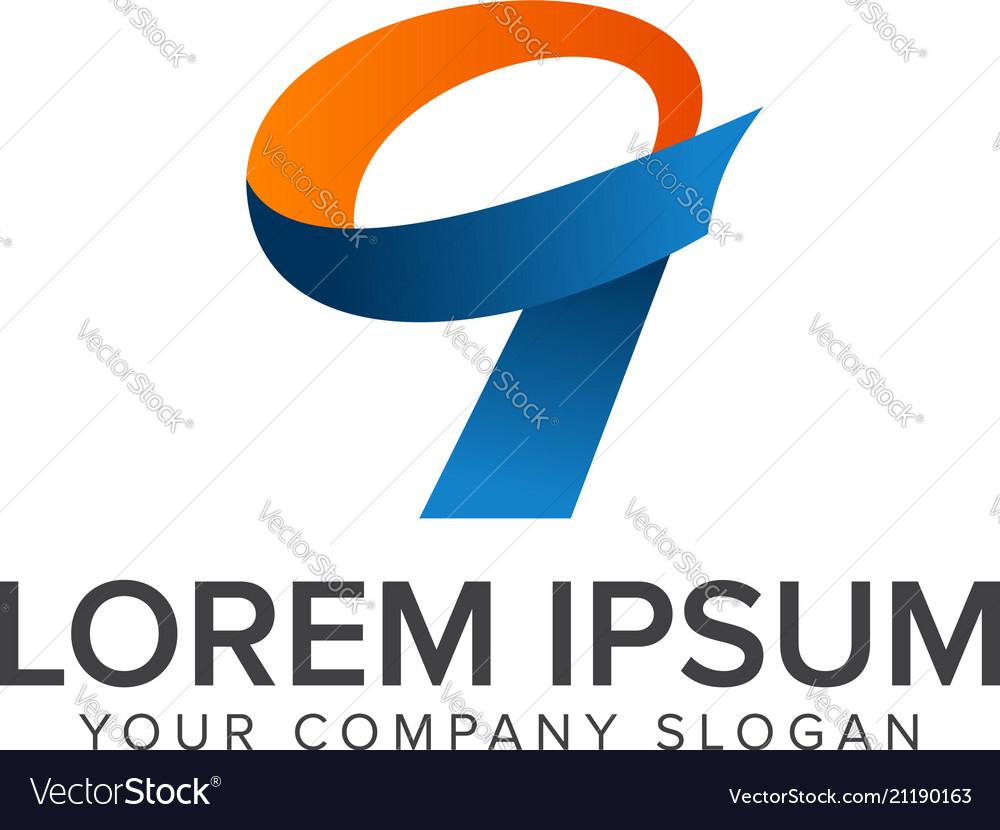 Number 9 logo design concept template