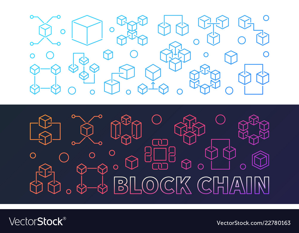 Set of two block chain colorful banners in