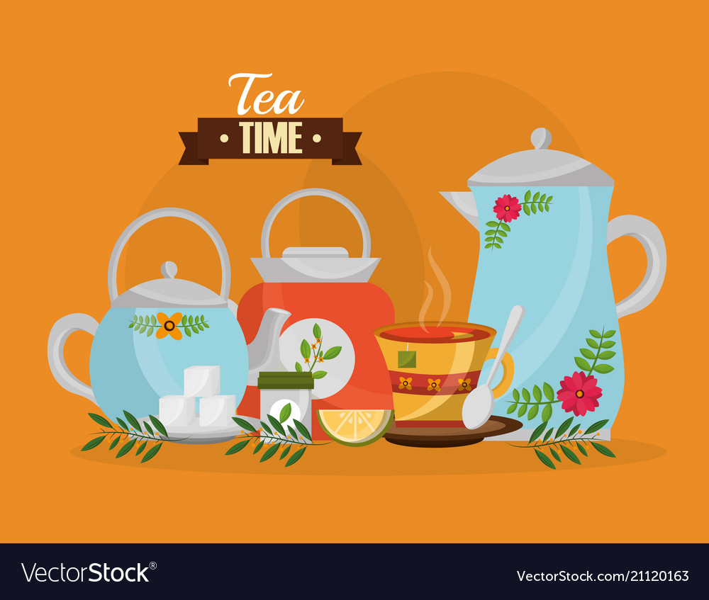 Tea time - teapots and teacup sugar lemon spoon