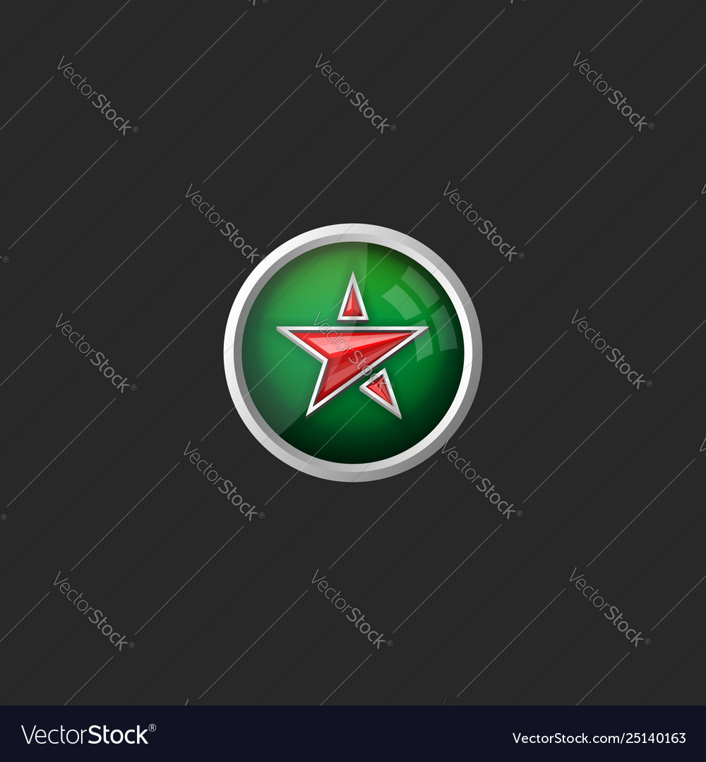 Trendy glass button with red star icon on green