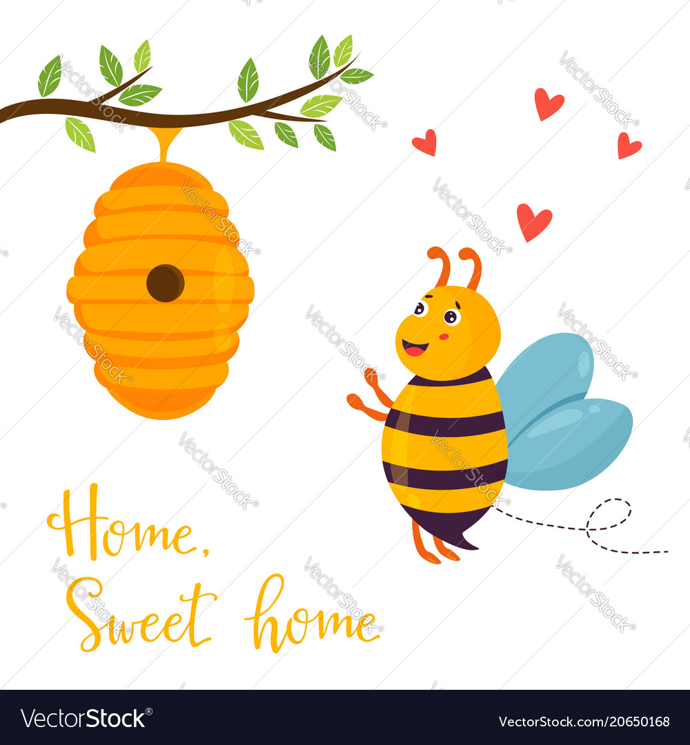 Bright funny cartoon bee and beehive