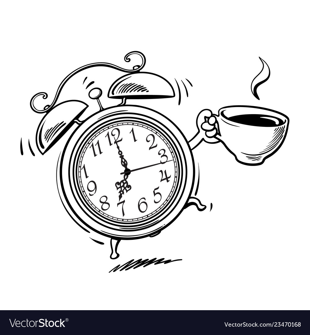 Cartoon alarm clock with cup of coffee ringing