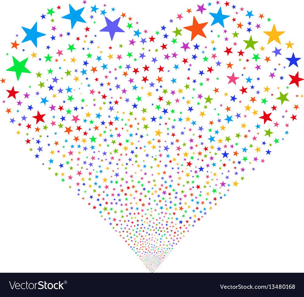 Confetti star fireworks heart