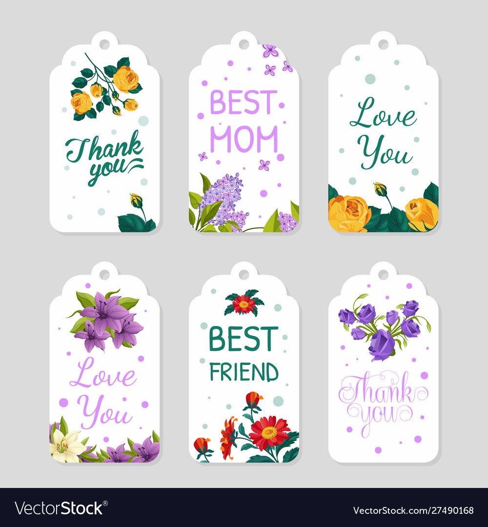 Creative gift tags collection floral card