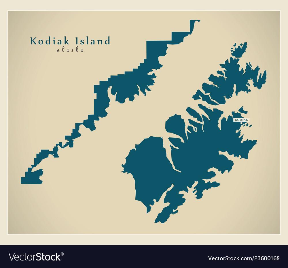 Kodiak Island Alaska Map.Modern Map Kodiak Island Alaska County Usa Vector Image