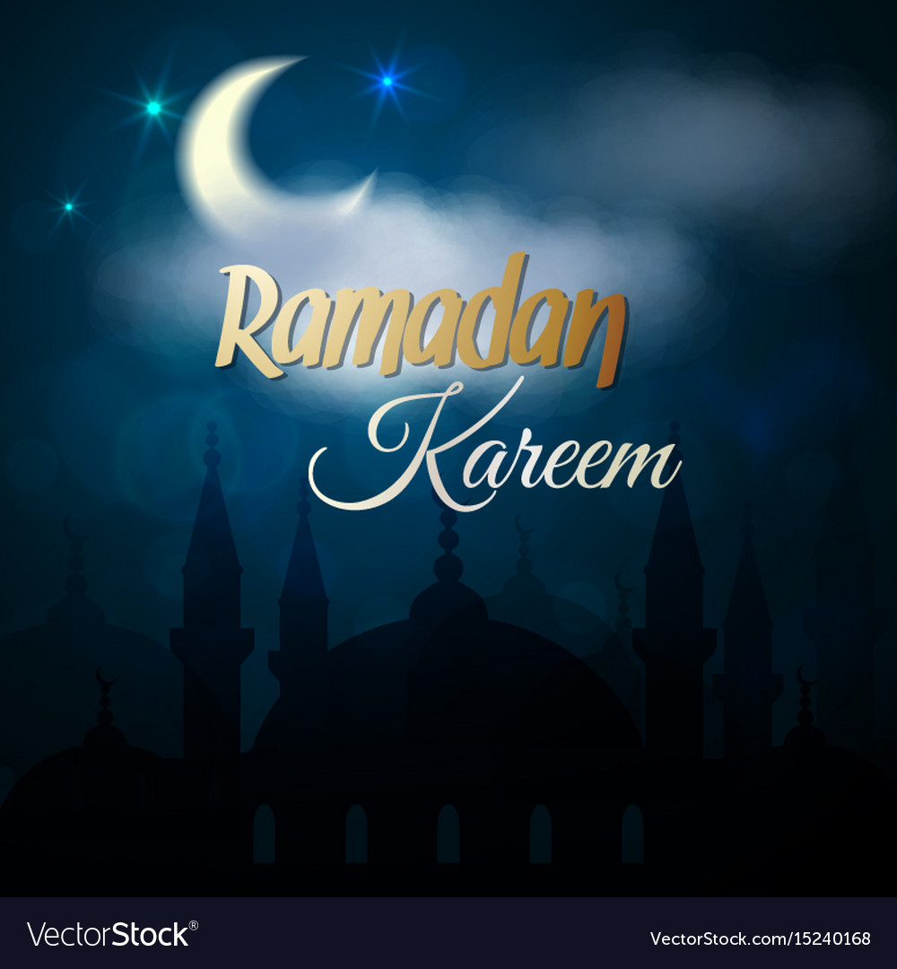 Ramadan Kareem Greeting Card Islamic Mosque Vector Image