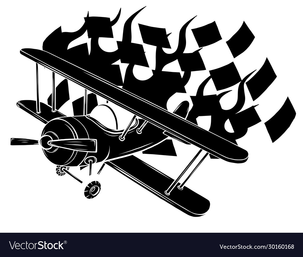 Retro flat looking plane and emblem with wings
