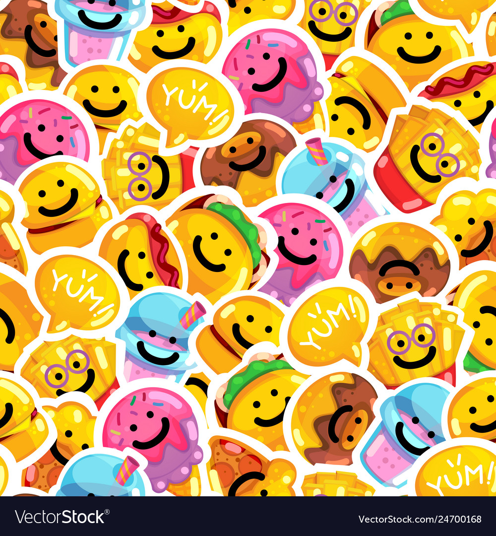 Seamless pattern emoji fast food smile