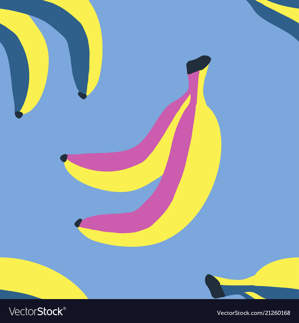 Seamless pattern with banana in sketch style