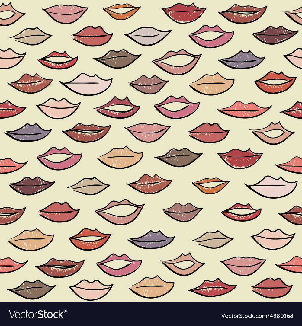 Seamless pattern with colored lips