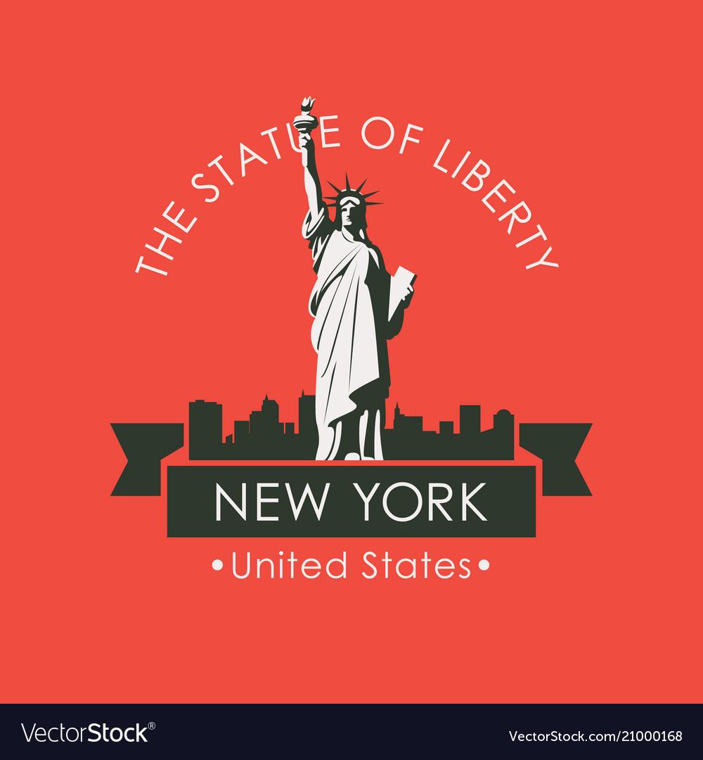 Statue liberty in backdrop new york skyline