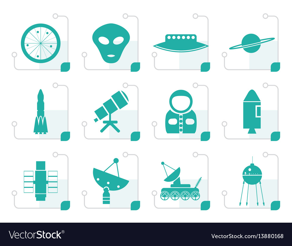Stylized astronautics and space icons