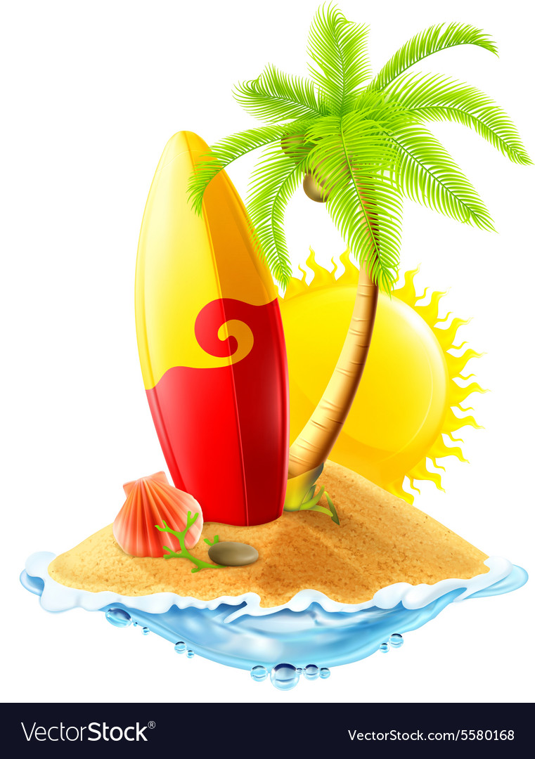 Surfboard and tropical island